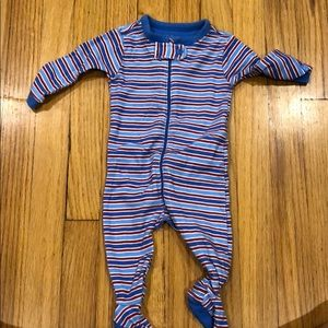 Red and blue stripes footed onesie